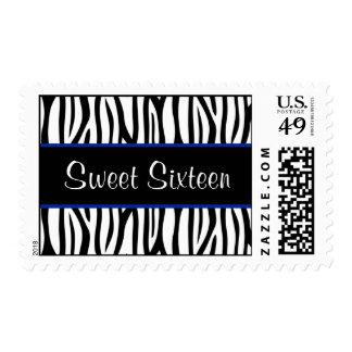 Zebra Navy Blue Sweet 16 Birthday Postage
