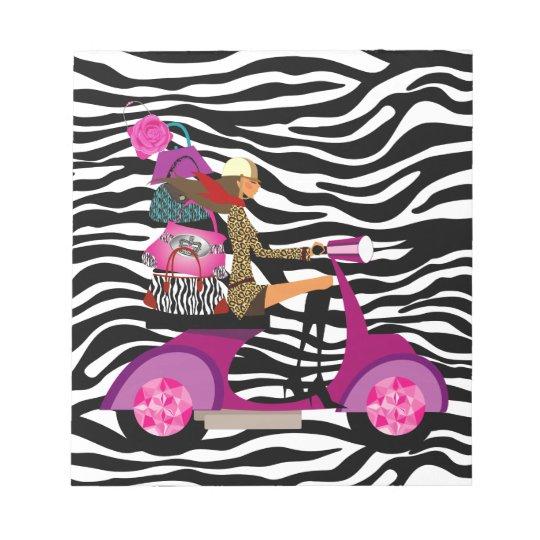 Zebra Notepad Black White Scooter Girl Purses