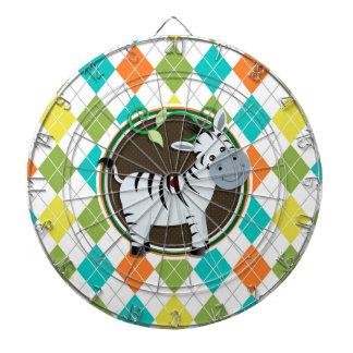 Zebra on Colorful Argyle Pattern Dartboards