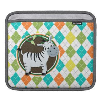 Zebra on Colorful Argyle Pattern iPad Sleeve