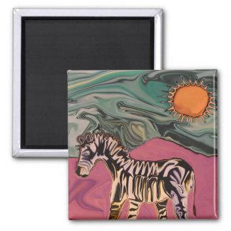 Zebra on Mars 2 Inch Square Magnet