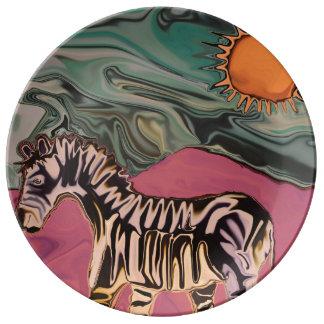 Zebra on Mars Porcelain Plate