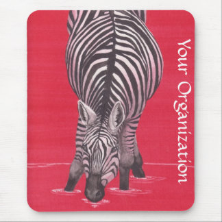 Zebra On Red Mousepad