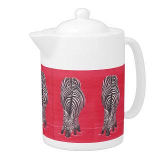 Zebra On Red Teapot