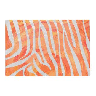 Zebra Orange and White Print Laminated Place Mat