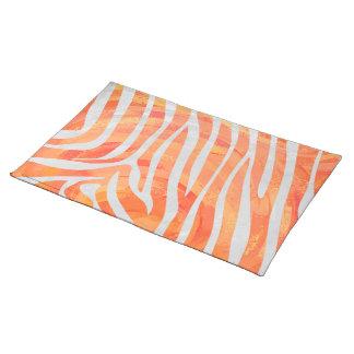 Zebra Orange and White Print Cloth Placemat