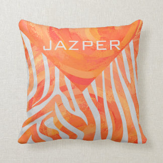 Zebra Orange and White Print Throw Pillow