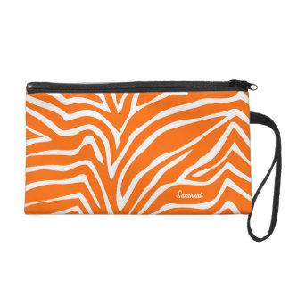 Zebra Orange Black Designer Barely There Purse Wristlet Purse