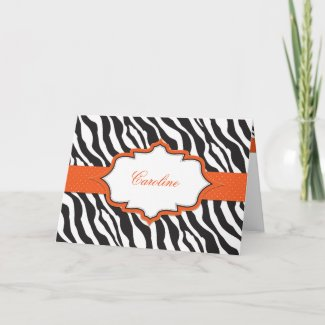Zebra Orange Ribbon Thank You Card card