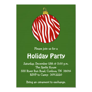 Zebra Ornament Holiday Party Invitation
