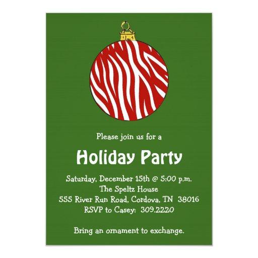 Zebra Ornament Holiday Party Invitation | Zazzle
