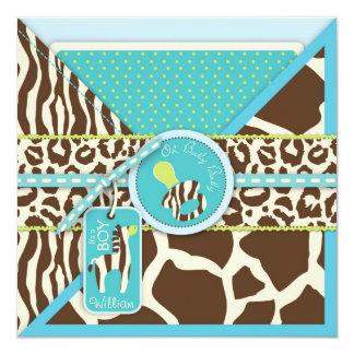 Zebra & Pacifier Safari Animal Print Baby Shower Personalized Announcements