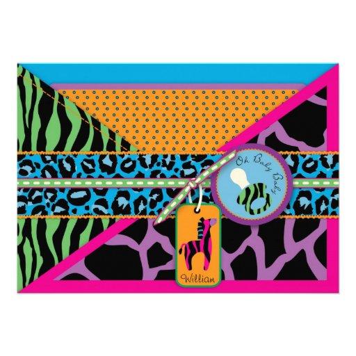 zebra pacifier safari animal print baby shower 5 x 7 invita