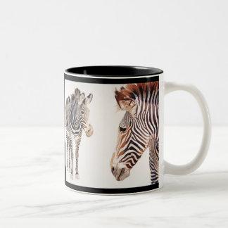 """Zebra Pair"" Watercolor Wildlife Art Two-Tone Coffee Mug"