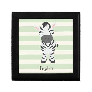 Zebra; Pastel Green Stripes Keepsake Box