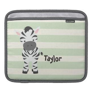 Zebra; Pastel Green Stripes iPad Sleeve