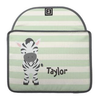 Zebra; Pastel Green Stripes Sleeves For MacBooks