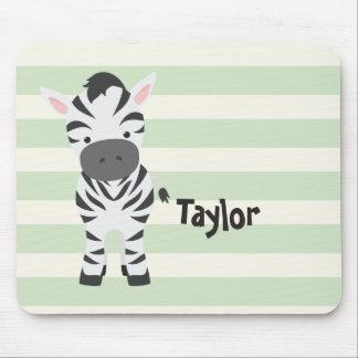 Zebra; Pastel Green Stripes Mouse Pad
