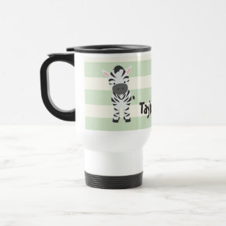 Zebra; Pastel Green Stripes 15 Oz Stainless Steel Travel Mug