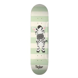 Zebra; Pastel Green Stripes Skateboard Deck