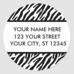 Zebra Pattern Address Labels Round Sticker