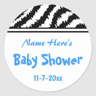 Zebra Pattern Baby Shower. Blue, Black and White. Classic Round Sticker