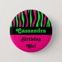Zebra pattern birthday name button