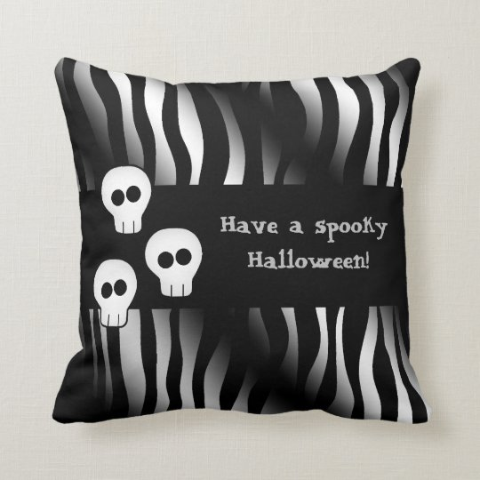 Zebra pattern for Halloween with cute skulls Throw Pillow