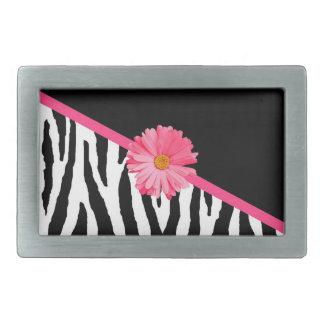 Zebra Pattern Girly Pink Daisy Rectangular Belt Buckles