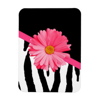 Zebra Pattern Girly Pink Daisy Magnet