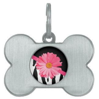 Zebra Pattern Girly Pink Daisy Pet ID Tag