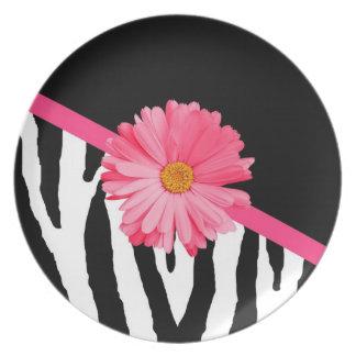 Zebra Pattern Girly Pink Daisy Plate