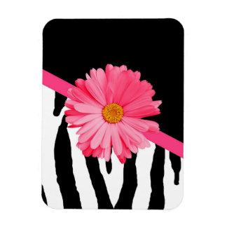Zebra Pattern Girly Pink Daisy Vinyl Magnets