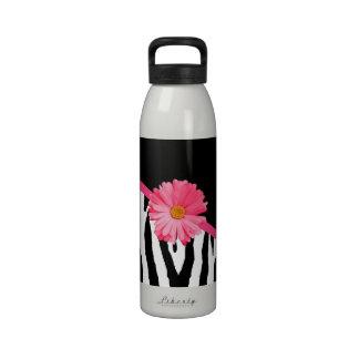Zebra Pattern Girly Pink Daisy Reusable Water Bottle