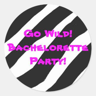 Zebra pattern Go Wild! Bachelorette party sticker