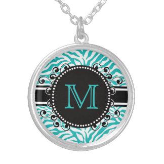 Zebra Pattern in Blue  Monogrammed Round Pendant Necklace