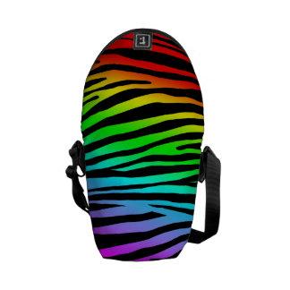 Zebra Pattern in Rainbow Messenger Bag