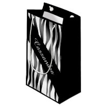 Zebra pattern name small gift bag