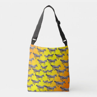Zebra Pattern On Golden Yellow, Crossbody Bag