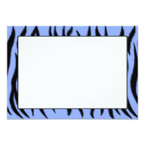 Zebra pattern on light blue background card