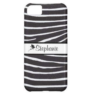 Zebra Pattern+Personalize Name Cover For iPhone 5C