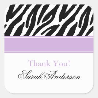 Zebra Pattern Personalized Square Sticker