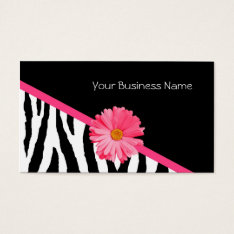 Zebra Pattern Pink Daisy Business Card at Zazzle