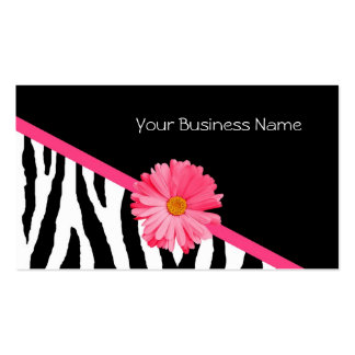 Zebra Pattern Pink Daisy Double-Sided Standard Business Cards (Pack Of 100)