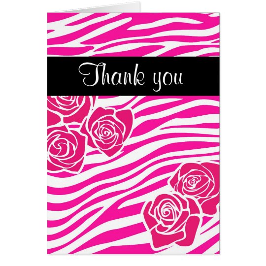 Zebra pattern + pink roses Thank you Card