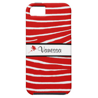 Zebra Pattern/Red+Personalize Name iPhone 5 Cover