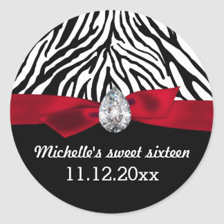 Zebra Pattern Red Ribbon Sweet Sixteen Favor Classic Round Sticker