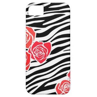 Zebra pattern + red roses iPhone 5 Case iPhone 5 Case