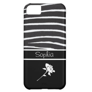 Zebra Pattern+White Rose on black/Personalize Case For iPhone 5C