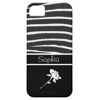 Zebra Pattern+White Rose on black/Personalize iPhone SE/5/5s Case